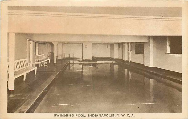 Although cramped by today's standards the 1909 indoor pool at the YWCA was a first for the state of Indiana (Courtesy eBay)