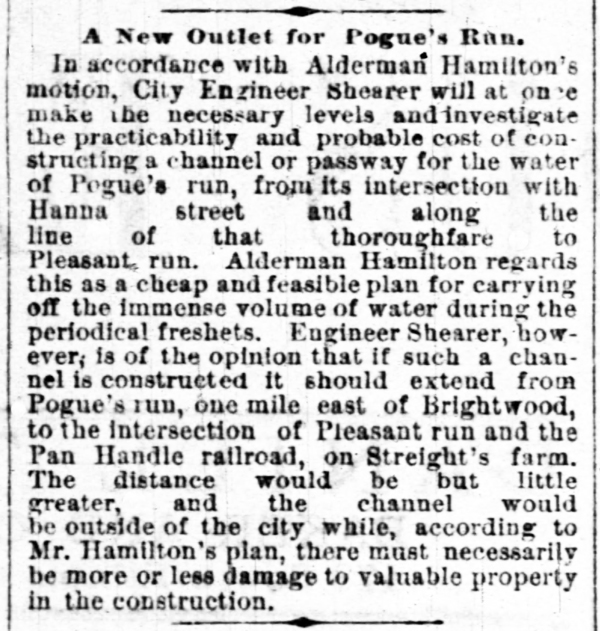 December 12, 1883 Indianapolis News article mentioned Pleasant Run (courtesy of newspapers.com)