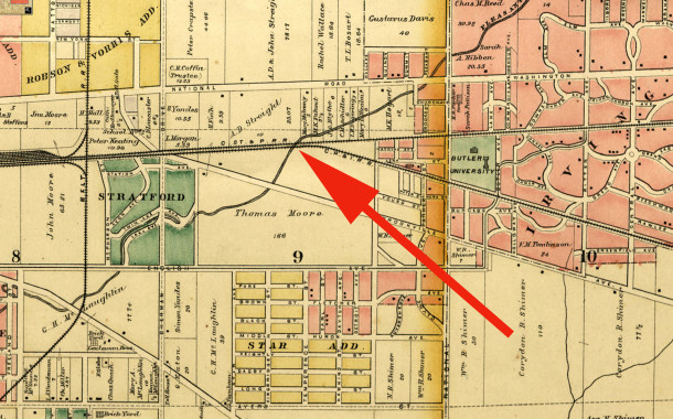 1889 map of Center Township shows the A. D. Streight farmland between the National Road and the railroad tracks  (map courtesy of Library of Congress archives)