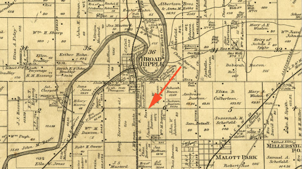 1889 Atlas of Washington Township showed the icon of a residence in the same spot as the present home (map courtesy Indiana State Library)