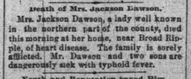 March 10, 1892 Indianapolis News clipping announcing the death of Lucinda Johnson Dawson (courtesy ofnewspapers.com)