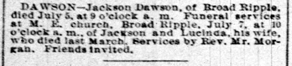 May 5, 1892 Indianapolis News clipping announcing the death of Jackson Dawson