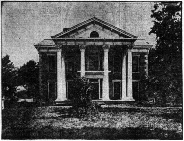 Newspaper image of Abel and Lavina McCarthy Streight home on the National Road between Indianapolis and Irvington    (courtesy of newspapers.com)