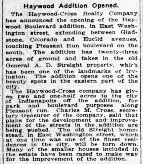 1916 Indianapolis News article announced new subdivision (courtesy of newspapers.com)