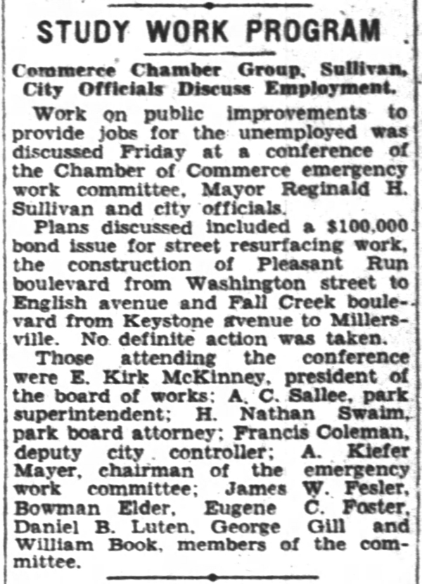 1931 Indianapolis Star article discussed plans for constructing Pleasant Run Boulevard  (now Parkway)  (courtesy newspapers.com)        CLICK TO ENLARGE