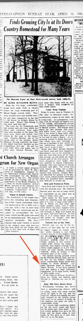 April 4, 1931 Indianapolis Star article mentioned two Dawson residences (courtesy of newspapers.com)