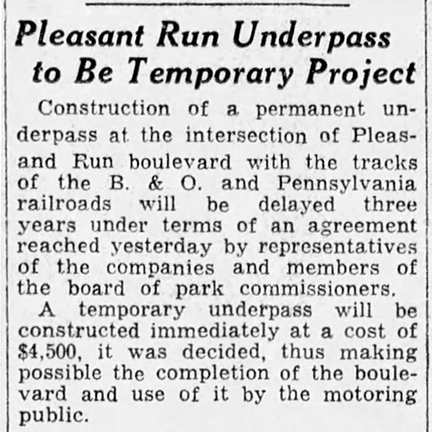 1932 Indianapolis Star article announced temporary underpass (ciurtesy of newespapers.com)