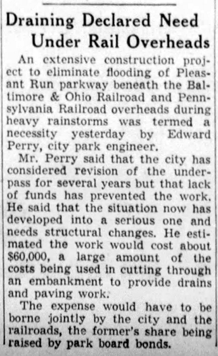 1937 Indianapolis Star article discussed the draining problems around the creek (courtesy of newspapers.com)