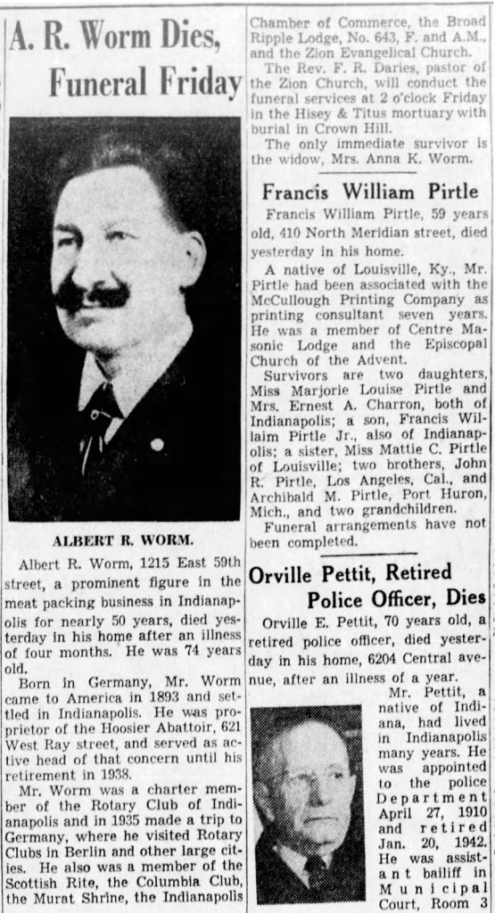 1944  obituary for Albert Worm appeared in the Indianapolis Star (courtesy of newspapers.com)