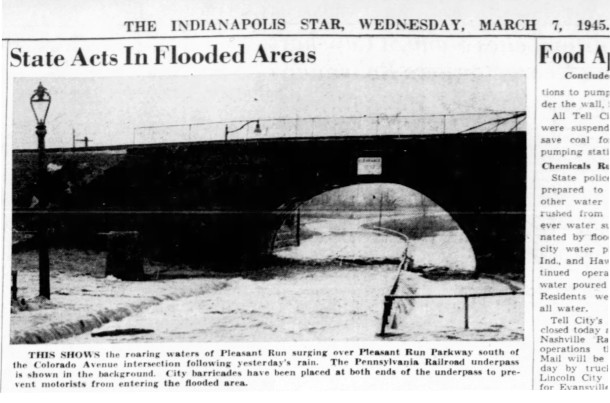 1945 Indianapolis Star photo shows the flooding of the underpass (courtesy of newspapers.com)