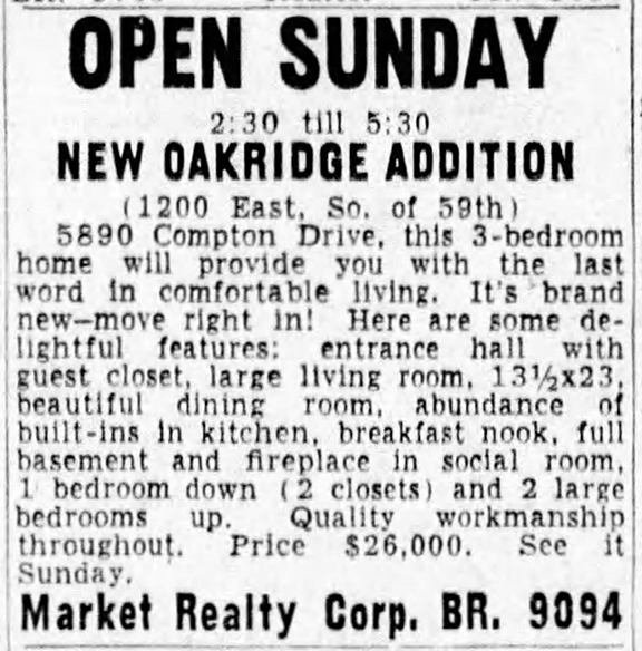 1949 ad touts a home in the new Oakridge Addition of which 1215 Kessler Boulevard is now a part (courtesy of newspapers.com)