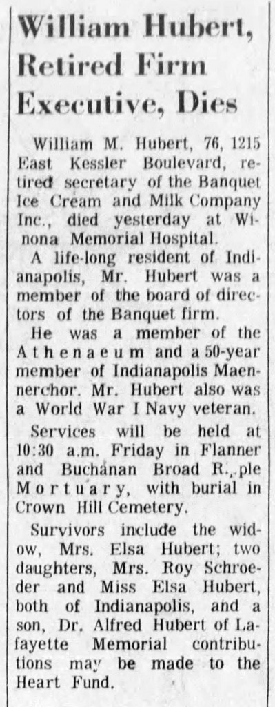 Obit of William Hubert, brother-in-law of Alfred Worm's second wife (courtesy of  newspapers.com)