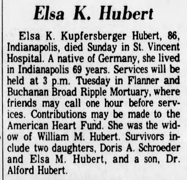 1981 obituary of Anna Kupfersberger Hubert's niece (courtesy of newspapers.com)