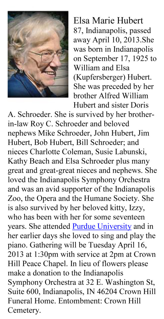 2013 obituary of Elsa M. Hubert (courtesy of indystar.com)