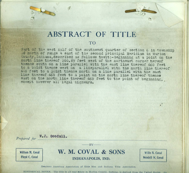 Abstract of Title prepared for Walter J. Goodall when he purchased 1215 Kessler Boulevard East Drive (document courtesy of AliceAshby Roettger)