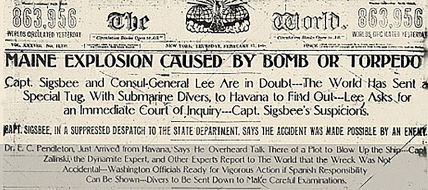 Front page headlines on February 17, 1898 (courtesy of The World)