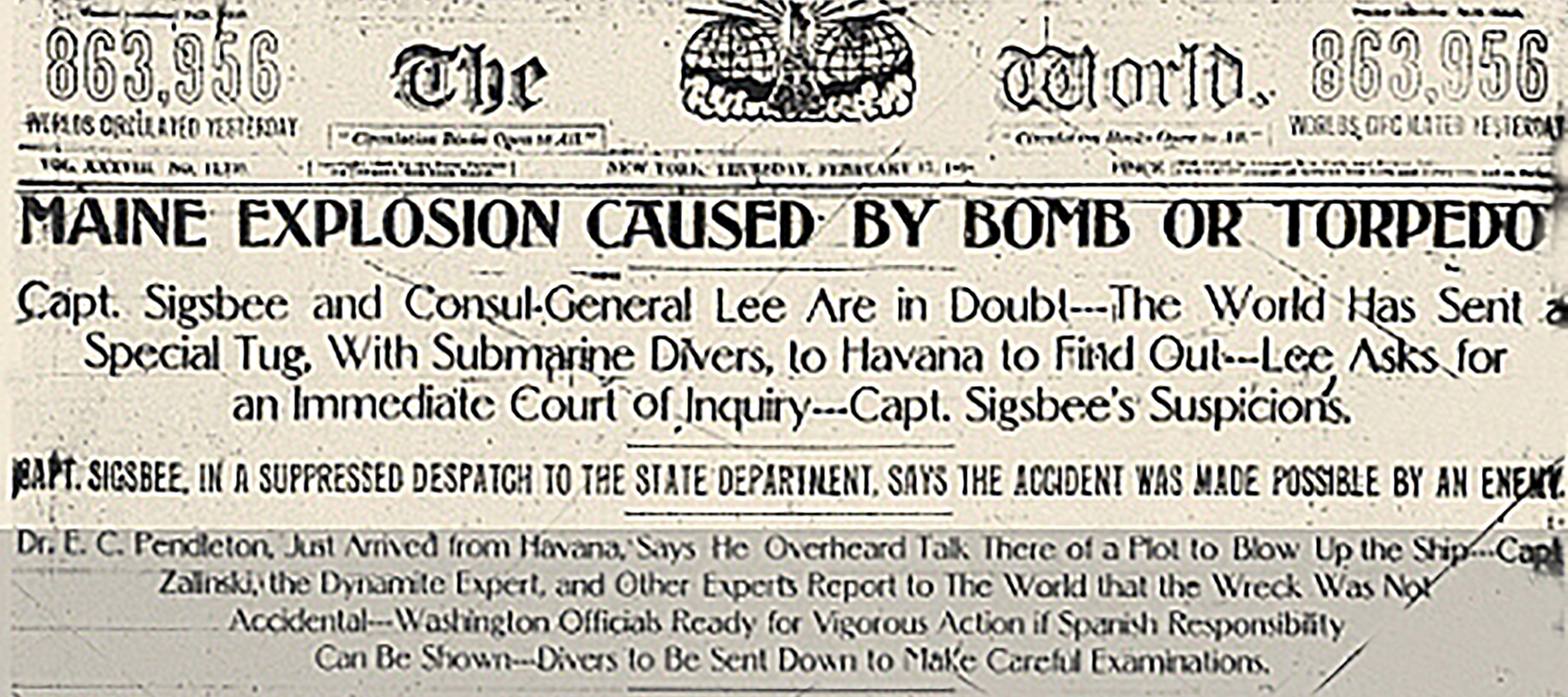 newspaper page uss maine explosion