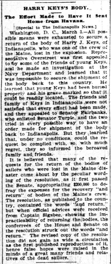 March 3, 1898 article regarding the burial (courtesy of The Indianapolis News