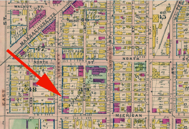Harry J. Keys, his mother, and his stepfather resided at 517 N. Liberty Street, which is 517 Park Avenue (1908 Baist map courtesy of IUPUI Digital Archives)