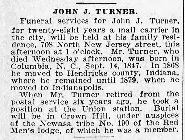 April 4, 1924 obituary of Harry Keys' stepfather, John J. Turner (courtesy of The Indianapolis Star)