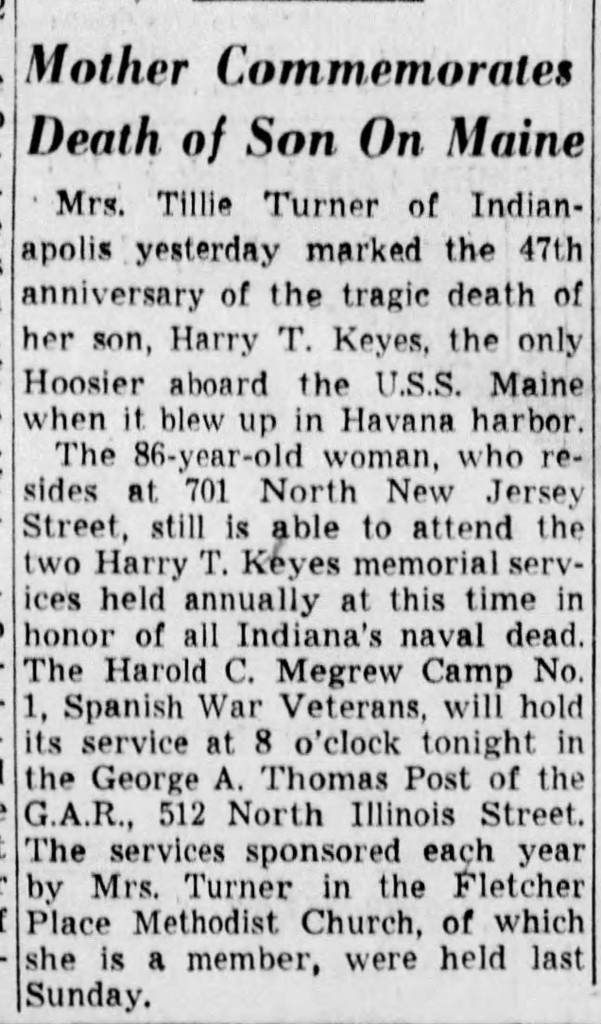 February 16, 1945 clipping  (courtesy of The Indianapolis Star)