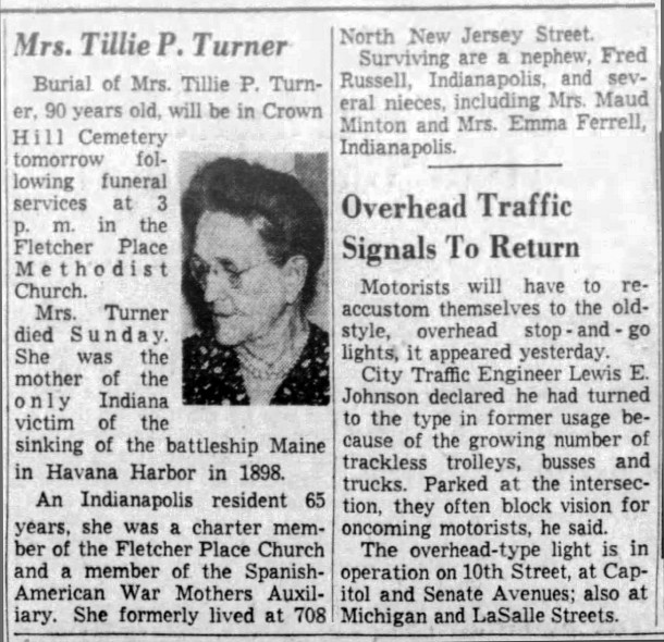 "May 11, 1949 obituary for the mother of Harry Keys, Matilda ""Tillie"" Turner (courtesy of The Indianapolis Star)"