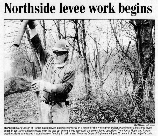 2003 Indianapolis Star article on the latest floodwall project (courtesy of newspapers.com)