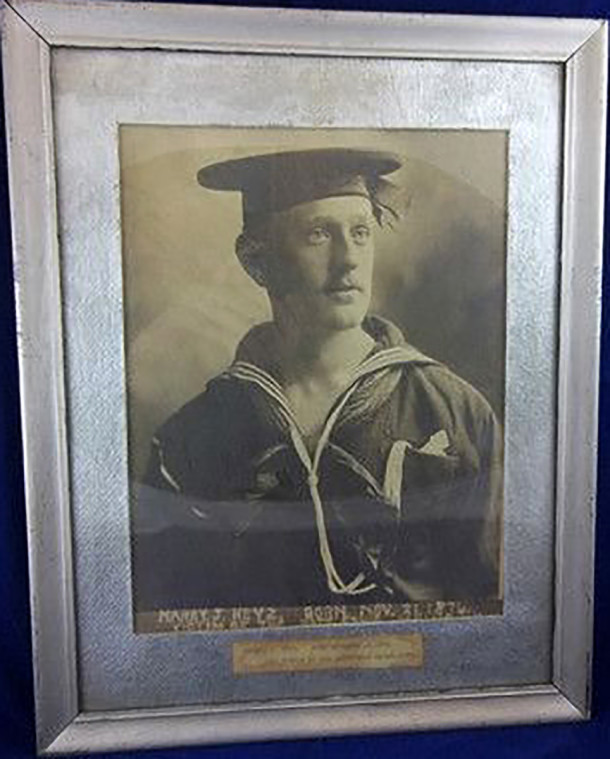 Framed photo of USS Maine victim from Indianapolis, Indiana, Harry J. Keys (copyrighted work licensed by Worthpoint on ebay)