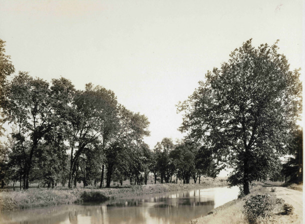 The Indiana Central Canal looks much the same today as it did  in 1911