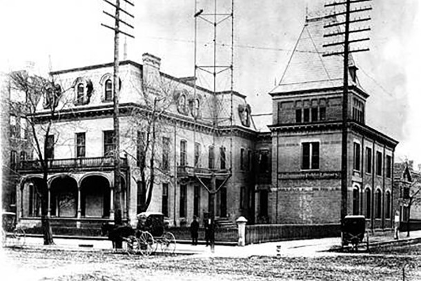 From 1885 to 1893, both the Indianapolis Public Library and the offices of Indianapolis Schools were located on the southwest corner of Ohio and Pennsylvania Streets  (Wm. H. Bass Photo Company Collection, courtesy of Indiana Historical Society)