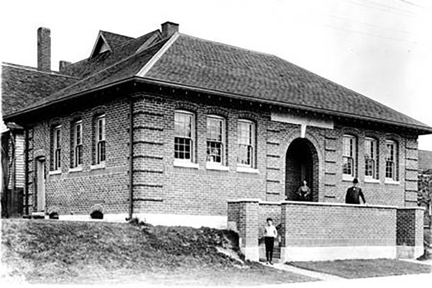 Indianapolis Public Library Branch #1 was completed in 1906  (Wm. H. Basss Company Collection, courtesy of Indiana Historical Society)