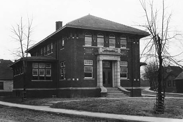 Indianapolis Public Library Branch #6 was built at 1801 Nowland Avenue with funds donated by Andrew Carnegie    (Wm. H. Bass Photo Company Collection, courtesy of the Indiana Historical Society)