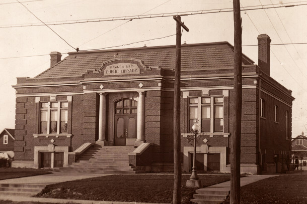 Indianapolis Public Library Branch #5 was built at 1912 West Morris Street in 1911 with funds donated by Andrew Carnegie   (Lawrence J. Downey Library History Collection courtesy of the Indianapolis Public Library)
