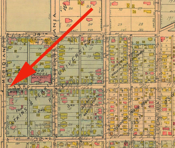 1916 Baist Atlas map shows University Park Baptist Church on the southwest corner of 33rd and Meridian Streets (courtesy of IUPUI Digital Archives)