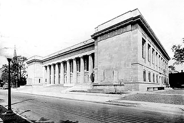 1917 image of the new Indianapolis Public Library , soon after its opening at 40 East Saint Clair Street  (Wm. H. Bass Photo Company Collection, courtesy of Indiana Historical Society)
