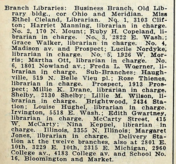 The 1917 Indianapolis City Directory listed twelve branches and seven delivery stations (courtesy of IUPUI Digital Archives)