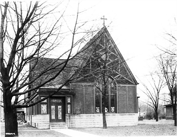 1920 photo of the Church of the Advent Episcopal Church on the southeast corner of 33rd and Meridian  (Wm. H. Bass Photo Co. Collection courtesy of the Indiana Historical Society)   Streets