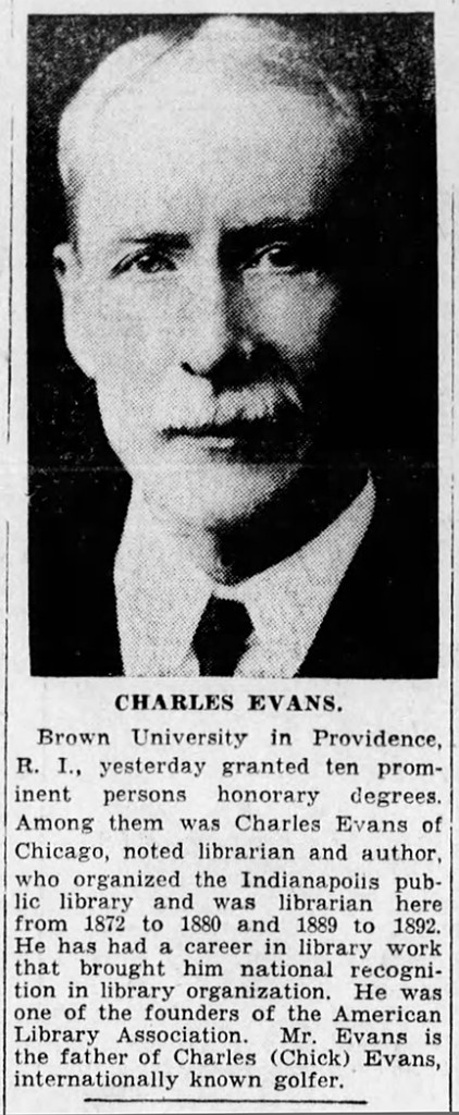 June 19, 1934 Indianapolis Star article about former director of the Indianapolis Public Library