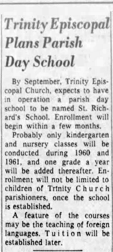 1960 Indianapolis Star article announced plans for St. Richard's