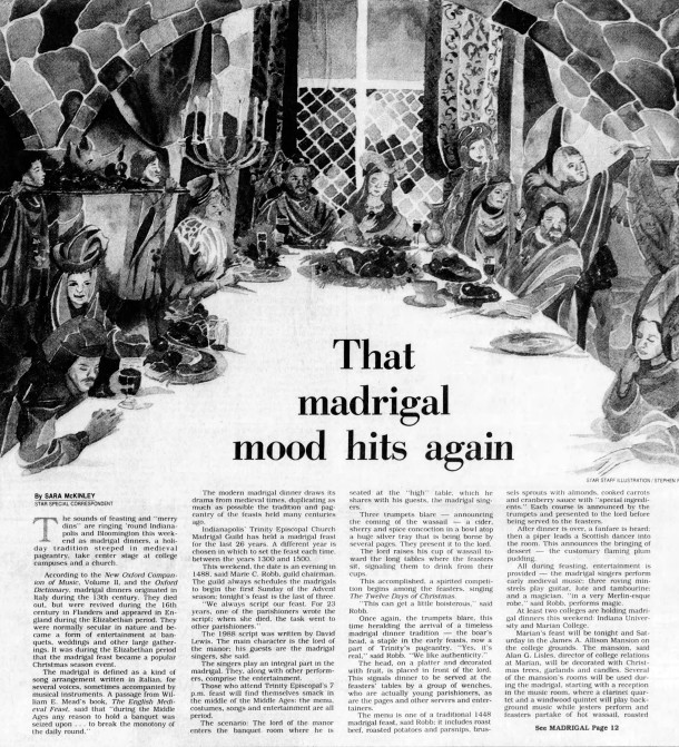 December 9, 1988 Indianapolis Star article about the annual Madrigal Dinner