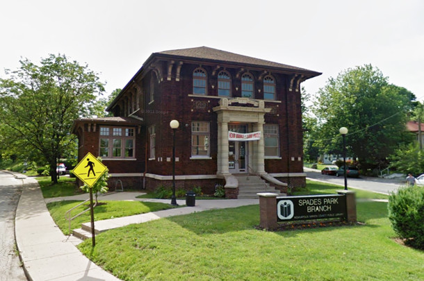 Indianapolis Public Library Branch #6 was built with a donation from Andrew Carnegie and still functions as a library today (2015 photo courtesy of Google maps)