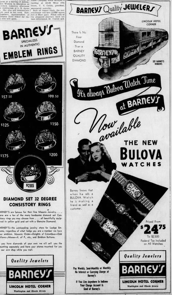 Barney's advertised heavily throughout the 1950's. (Courtesy Indiana State Library)