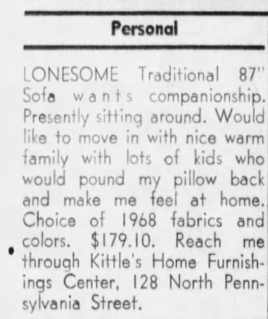 A clever ad placed by Kittles in the Indy personals in the 60's (Courtesy Indiana State Library)