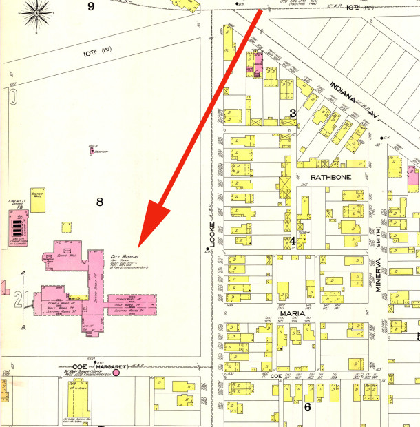 1898 Sanborn map shows the location of City Hospital at 1000 West Coe Street, coincidentally once named Margaret Street    (Map courtesy of  IUPUI Digital Archives)                            DOUBLE CLICK TO ENLARGE