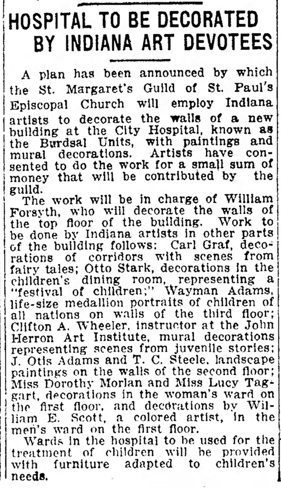 April 5, 1914 announcement of art project at City Hospital in The Indianapolis Star
