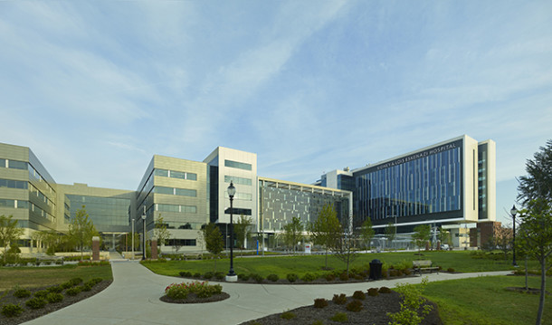 Sidney and Lois Eskenazi Hospital is located at 720 Eskenazi Avenue             (photo courtesy of hok.com)