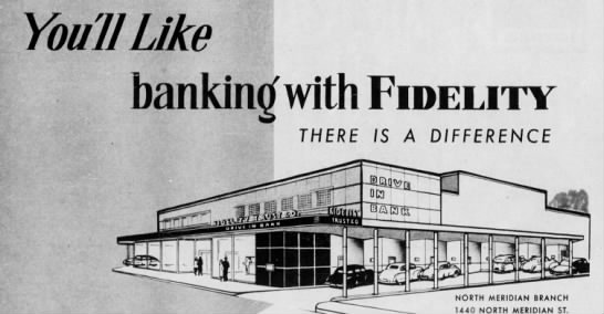 The Fidelity Trust Company boasts drive-up banking capable of serving eight cars at once! (Courtesy Indiana State Library)