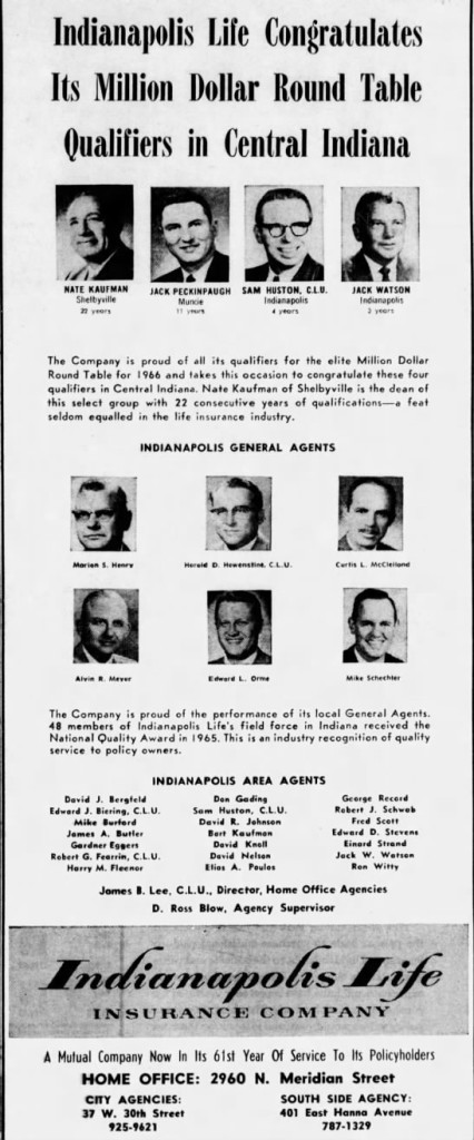 The Indianapolis Life Insurance Company was one of the largest Life Insurance providers in Indianapolis. (Courtesy Indiana State Library)