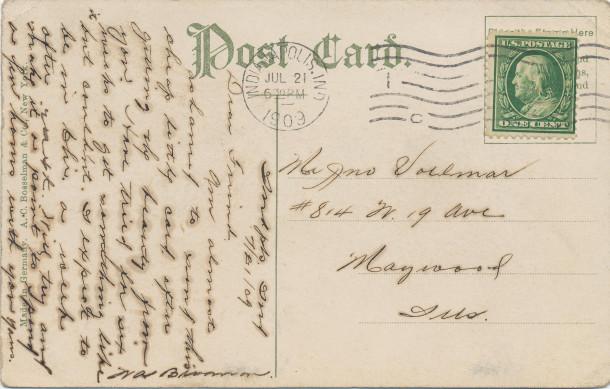 Postmark July 21st, 1909