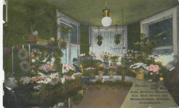 John Rieman, Florist (image:  http://www.digitalindy.org/cdm/compoundobject/collection/postcard/id/50/rec/15)
